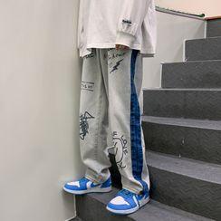 Kimeya - Lettering Smiley Face Print Wide-Leg Jeans