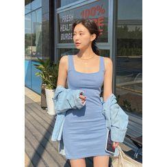 chuu - Ribbed Fitted Mini Tank Dress