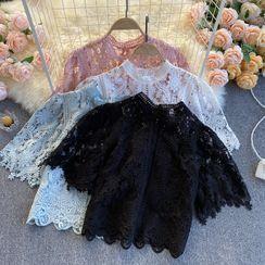 Lucuna - Short-Sleeve Lace Mock-Neck Blouse