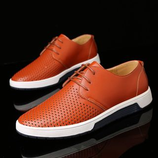Taragan - Faux Leather Perforated Sneakers