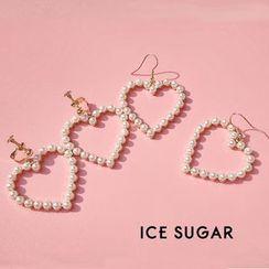 ICE SUGAR - Faux Pearl Heart Drop Earring