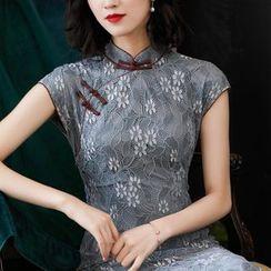 欧依潮派 - 蕾丝短袖旗袍