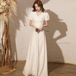 OOMEI - Puff-Sleeve Midi A-Line Dress
