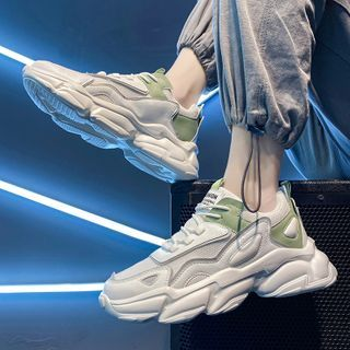 TATALON - Mesh Panel Lace-Up Athletic Sneakers