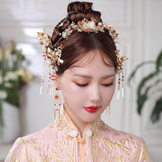 la Himi - 婚礼套装: 缀饰流苏发簪 + 头饰 + 流苏耳环