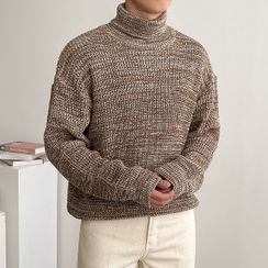 Seoul Homme - Turtle-Neck Boxy Mélange Sweater