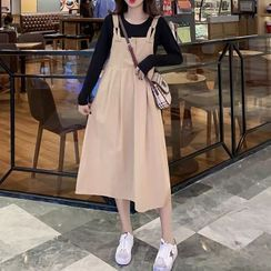 Hearty Bliss - 孕婦套裝: 長袖T裇 + 背帶連衣中裙