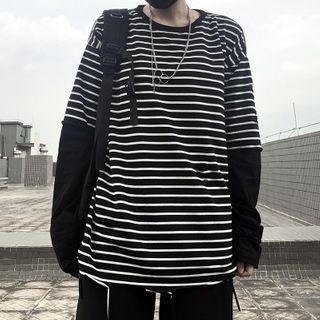 Shineon Studio - 长袖假两件条纹T裇