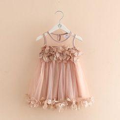 貝殼童裝 - 童裝花朵無袖網紗連衣裙