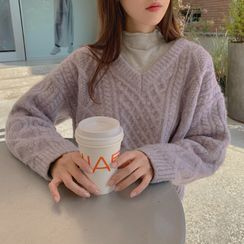 CHERRYKOKO - V-Neck Cable-Knit Sweater