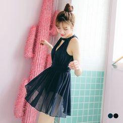 OrangeBear - 深V镂空网纱拼接连身裤裙泳装