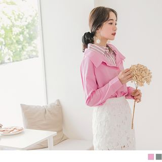 OrangeBear - 高含棉條紋襯衫拼接寬版假兩件長袖上衣