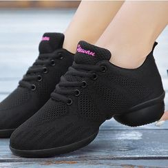 Danceon - Lace Up Mesh Panel Dance Shoes