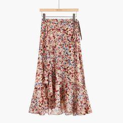Closetery - Floral Print Midi A-Line Wrap Skirt