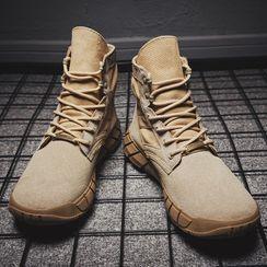 MARTUCCI - 绒面厚底系带及踝靴