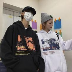 KAKAGA - 情侶款印花連帽衫
