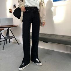 Bybee - 宽腿直筒开衩牛仔裤