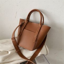 Hydracinthe(ハイドラシンス) - Top Handle Faux Leather Bucket Bag