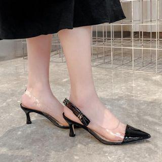 JY Shoes - Genuine Leather Transparent Panel Kitten Heel Slingback Pumps