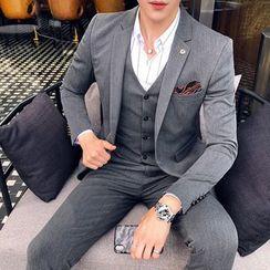 Besto - 套裝: 單扣西裝外套 + 馬甲 + 西褲