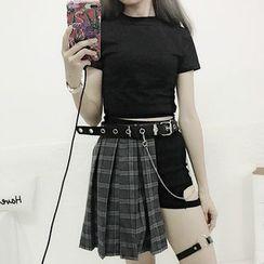 AKANYA - Short-Sleeve T-Shirt / Cut Out Mini A-Line Plaid Pleated Skirt / Cut Out Shorts / Belt