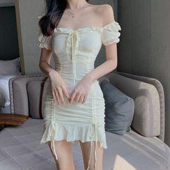 Newkoou - Short-Sleeve Ruffle Trim Drawstring Slim Fit Chiffon Dress