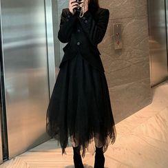 Antoinine - Set: Plaid Blazer + Midi Mesh Skirt