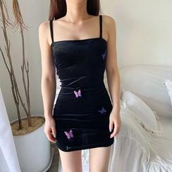 Ohnana - Embroidered Strappy Mini Sheath Dress