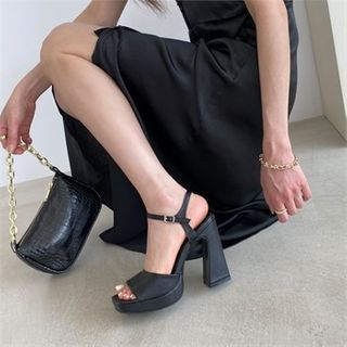 MONOBARBI - Open-Toe Chunky-Heel Mary Jane Pumps