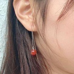 BURMASTIN - 925 Sterling Silver Agate Bead Drop Earring