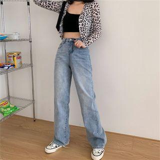 Daynum - Leopard Print Cropped Cardigan / Camisole Top / Wide-Leg Jeans / Sweatpants