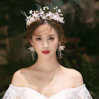 la Himi - 套装: 婚礼仿珍珠树枝头饰 + 流苏耳环