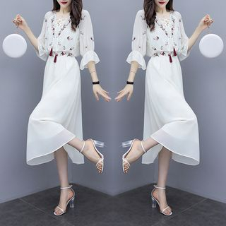 Sienne - Set: 3/4-Sleeve Top + Midi Skirt