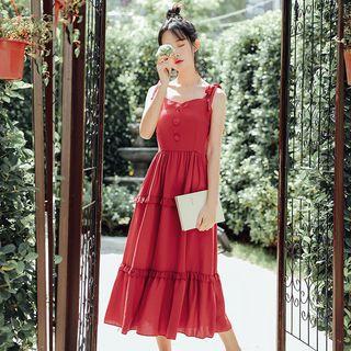 sansweet - Strappy Midi A-Line Dress