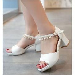 Freesia - 珠饰踝带露趾高跟鞋