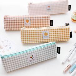 Ms Zaa - Fruit Applique Plaid Canvas Pencil Case