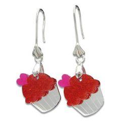 Sweet & Co. - Sweet Glitter Red Mirror Cupcake Silver Earrings
