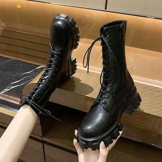 Nikao - Lace Up Platform Short Boots