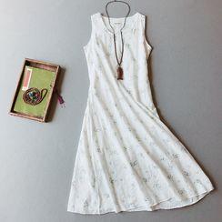 Vateddy - Floral Print Sleeveless Midi A-Line Linen Dress