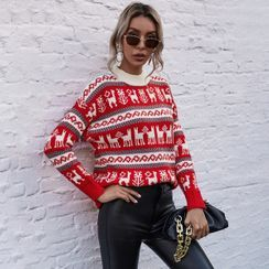 Showaris - Holiday Themed Mock-Neck Sweater