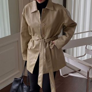 Ashlee - Faux Leather Jacket with Sash