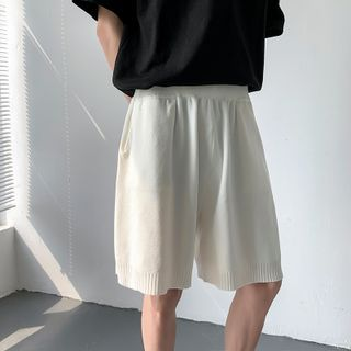 Freehop - High-Waist Plain Knit Shorts