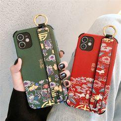 Zone Zero - Floral Print Hand Strap Phone Case - iPhone 11 Pro Max / 11 Pro / 11 / SE / XS Max / XS / XR / X / SE 2 / 8 / 8 Plus / 7 / 7 Plus