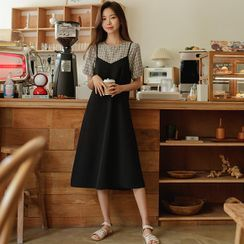 JUSTONE - Set: V-Neck Midi Overall Dress + Checked Blouse