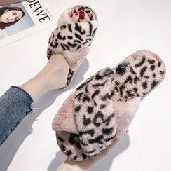 Simply Walk - Leopard Print Chenille Slide Sandals