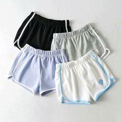 Pezzom - High-Waist Heart Print Contrast-Trim Shorts