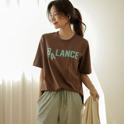 JUSTONE - 'BALANCE' Slit-Side Cotton T-Shirt