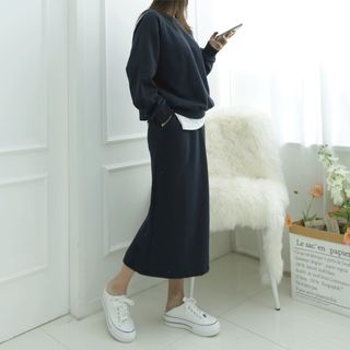 DANI LOVE - Raglan-Sleeve Sweatshirt & Long Skirt Set