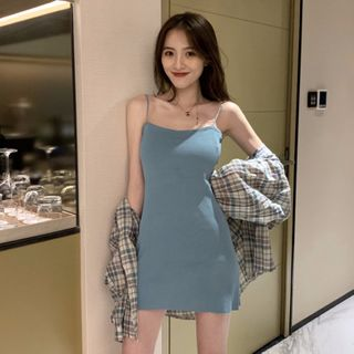 Breefriend - Spaghetti Strap Mini Dress / Long-Sleeve Plaid Shirt