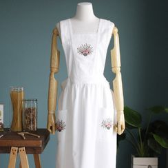 iswas - Flower-Embroidered Lace-Trim Apron